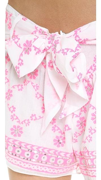 Juliet Dunn Crisscross Print Shorts