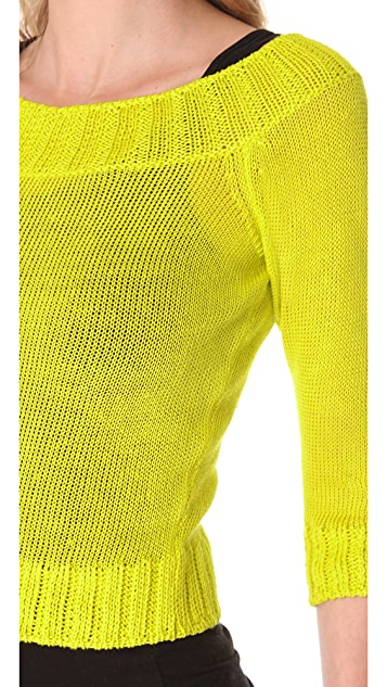 Jean Paul Gaultier Cropped Neon Sweater