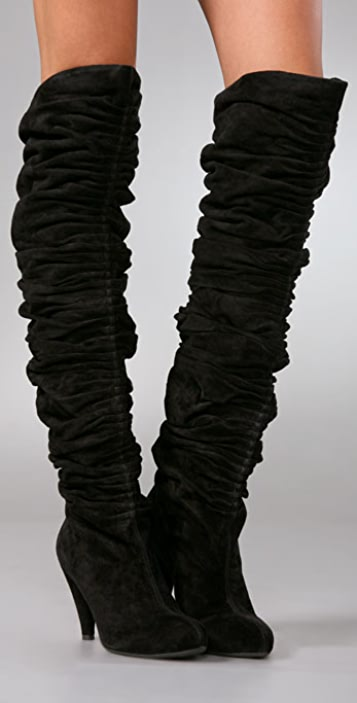 Jeffrey Campbell Braid Shirred Suede Over the Knee Boots