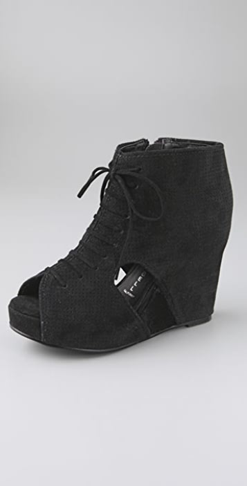 Jeffrey Campbell Mary Roks Open Toe Suede Booties