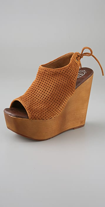 Jeffrey Campbell Snickers Open Toe Pumps on Wooden Wedge