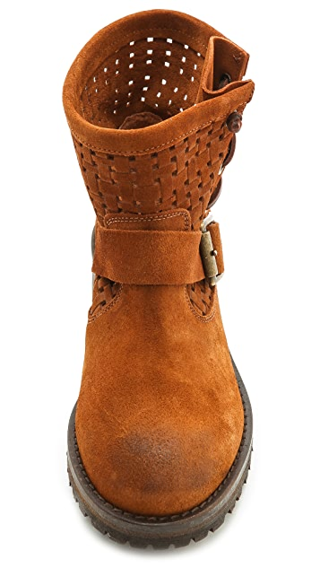 Jeffrey Campbell Perforated Suede Lug Sole Booties