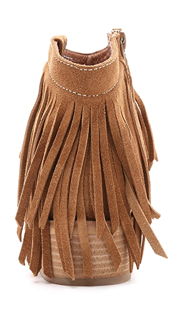 Jeffrey Campbell Chafee Suede Fringe Booties