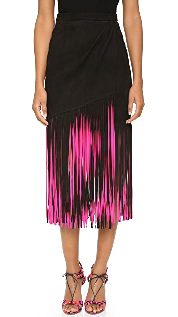 Jem and the Holograms Tamara Mellon Leather Fringe Skirt