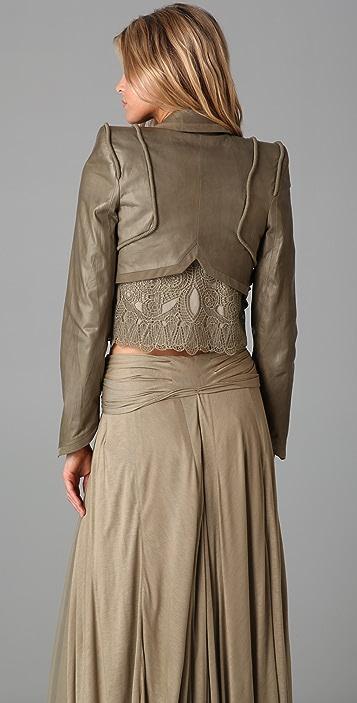 Jen Kao Cropped Leather Smoking Jacket