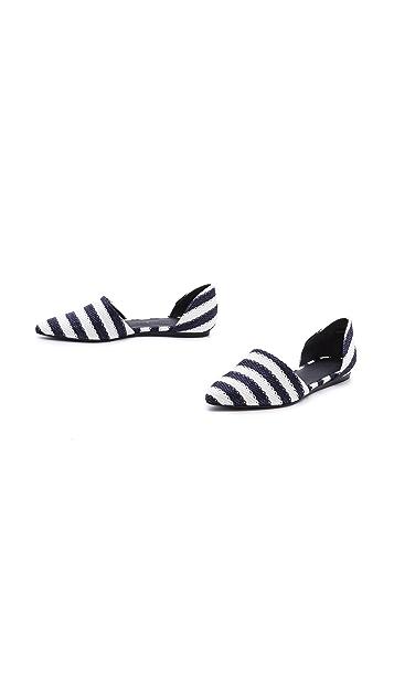Jenni Kayne Stripe Raffia d'Orsay Flats