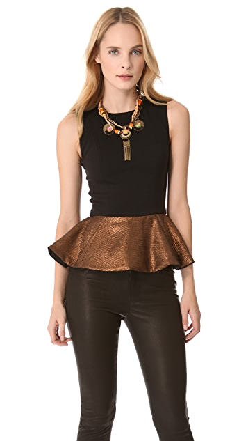 Julie Haus Metallic Novak Peplum Top