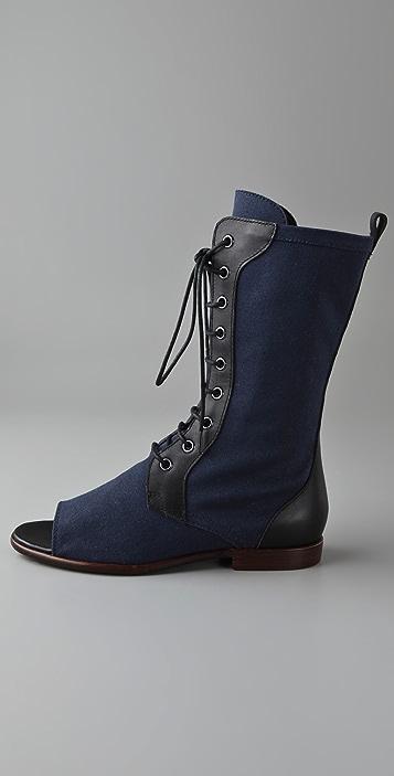 Jil Sander Navy Open Toe Mid Calf Boots