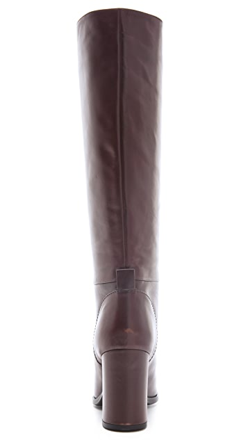 Jil Sander Navy Knee High Heeled Boots