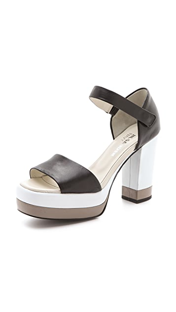 Jil Sander Navy Platform Sandals with Quarter Strap