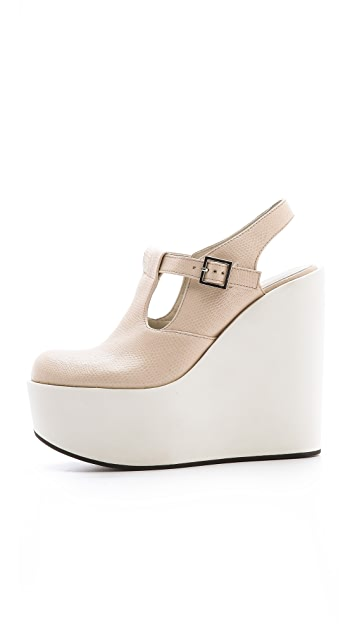 Jil Sander Navy Mary Jane Wedge Pumps