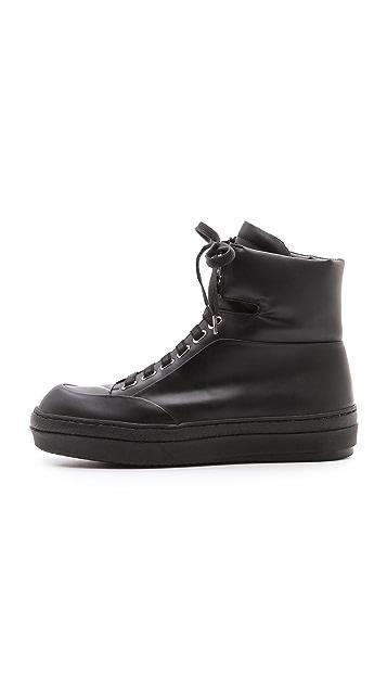 Jil Sander Navy Platform Rubber Sneaker
