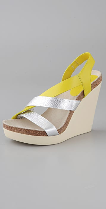 740345aef94 Jil Sander Wedge Sandals with Asymmetrical Straps