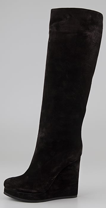 Jil Sander Suede Platform Wedge Boots