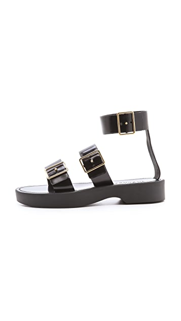 Jil Sander Black Strapped Sandals