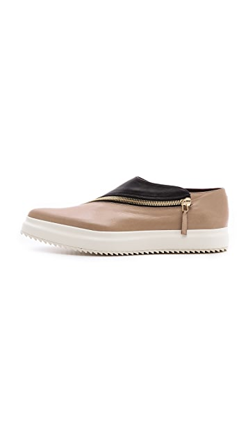 Jil Sander Two Toned Zipper Flats