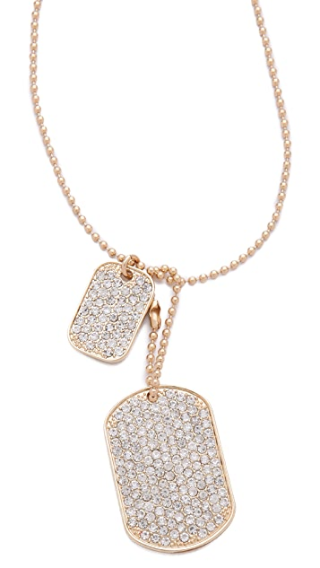 Juliet & Company Diamante Dog Tag Necklace