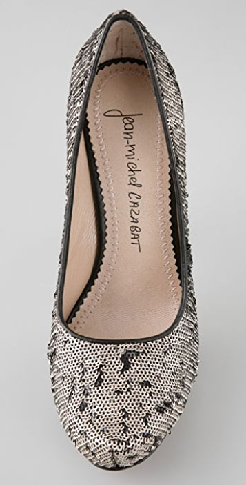 Jean-Michel Cazabat Zilla Reversed Sequin Pumps