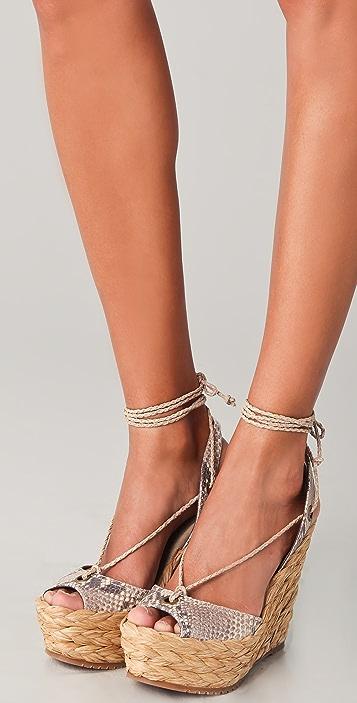 Jean-Michel Cazabat Halima Woven Wedge Sandals