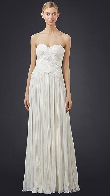 J. Mendel Strapless Woven Gown