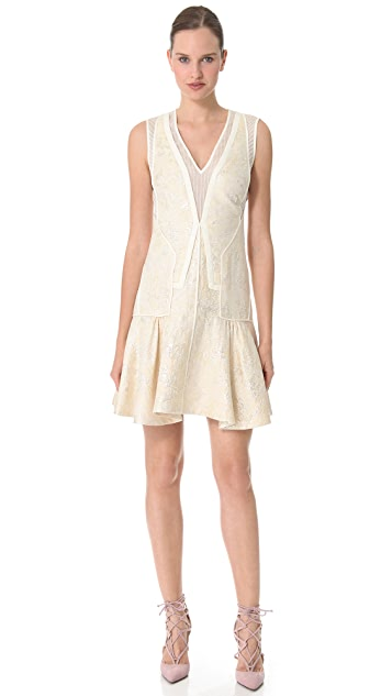 J. Mendel Piped Brocade Dress