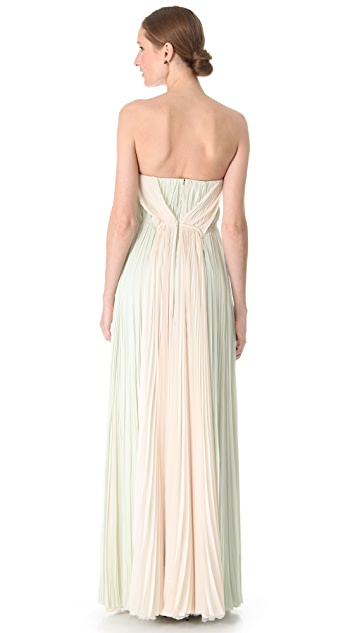 J. Mendel Strapless Pleated Chiffon Gown