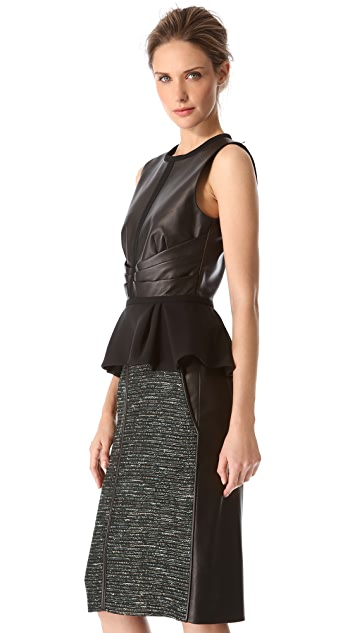 J. Mendel Leather Combo Peplum Top