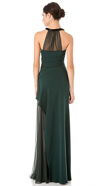J. Mendel Draped Gown with Crystal Halter