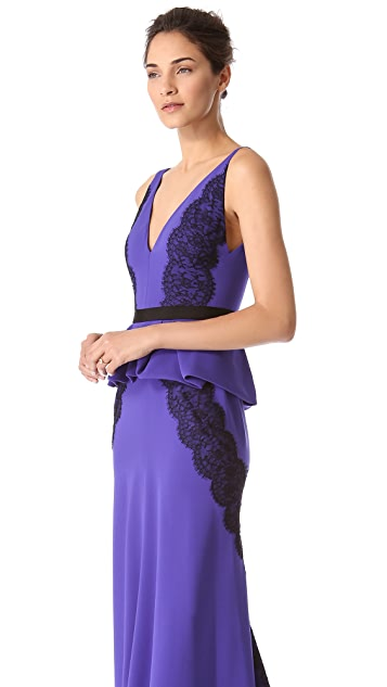 J. Mendel Deep V Gown with Draped Peplum