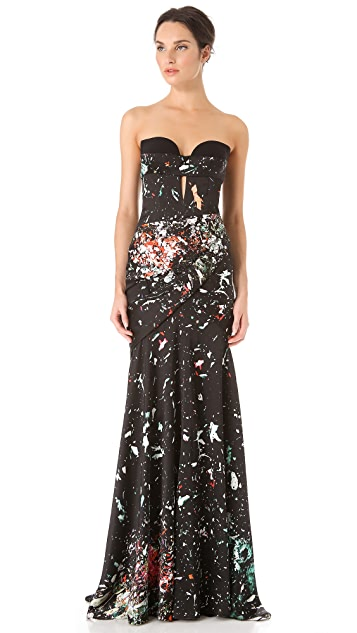 J. Mendel Strapless Gown with Bustier Detail