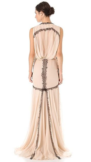 J. Mendel Lace Trim Blouson Gown