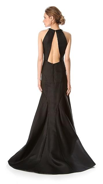 J. Mendel Deep V Halter Gown