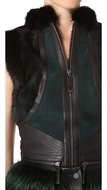 J. Mendel Shearling Vest with Stripe Fur Trim