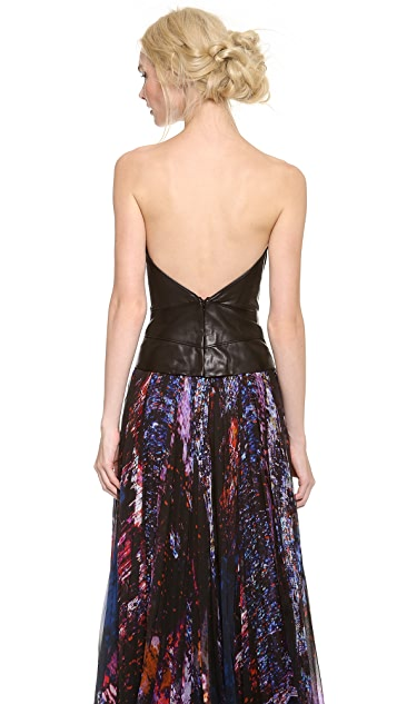 J. Mendel Leather Bustier with Silk Binding