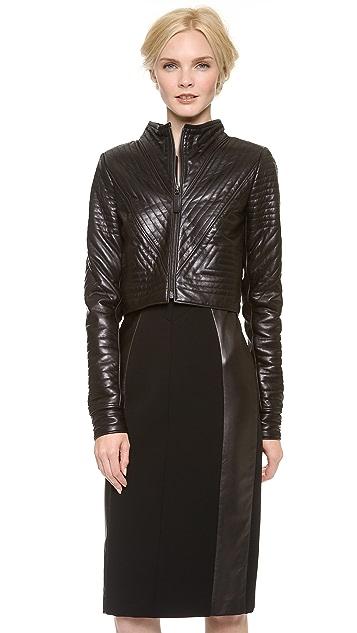 J. Mendel Geometric Leather Cropped Jacket