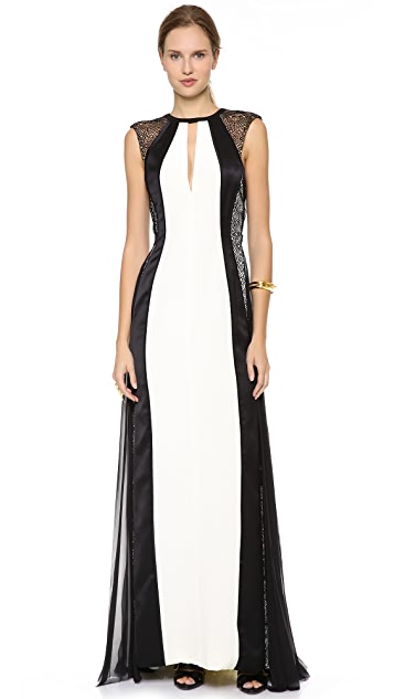 J. Mendel Shredded Lace Panel Gown