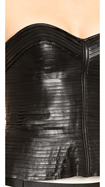 J. Mendel Strip Mounted Leather Bustier