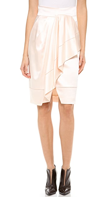 J. Mendel Asymmetrical Draped Wrap Skirt