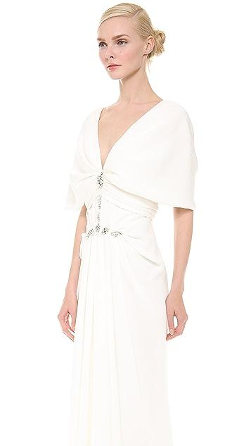 J. Mendel Pleated V Neck Gown