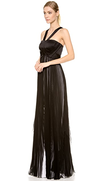 J. Mendel Pleated Sleeveless Gown