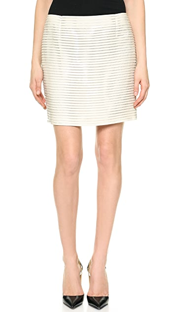 J. Mendel Patent Stripe Tech Miniskirt