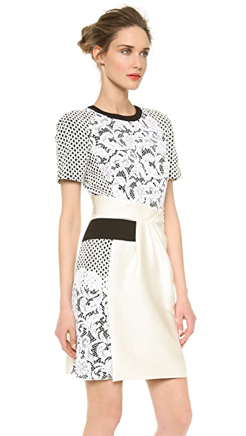 J. Mendel Mixed Lace Trompe l'Oeil Dress