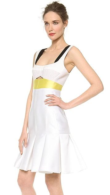 J. Mendel Silk Paneled Colorblocked Dress