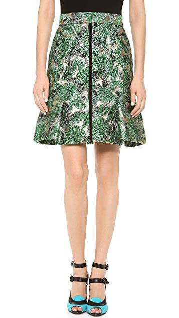 J. Mendel Metallic Leaf Brocade Skirt