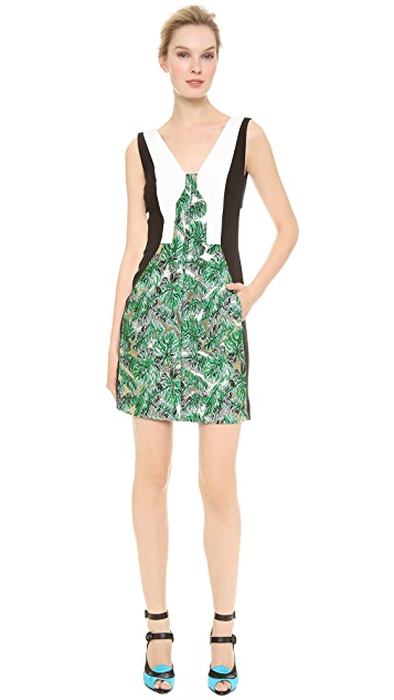 J. Mendel Colorblock Leaf Brocade Dress