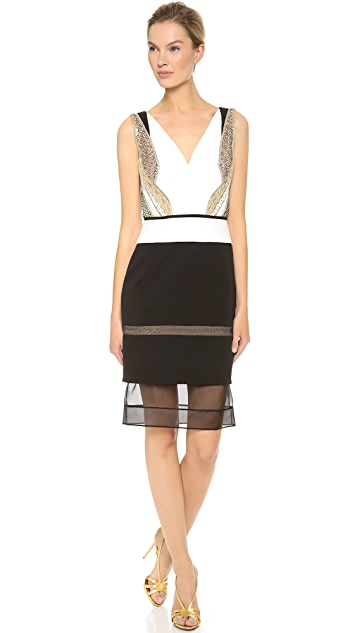 J. Mendel V Neck Fitted Silk Crepe Dress