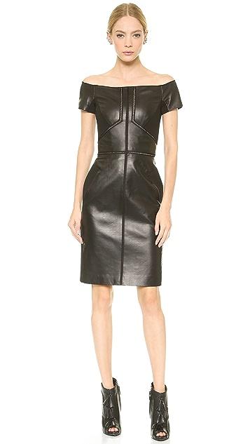 J. Mendel Leather Off Shoulder Dress