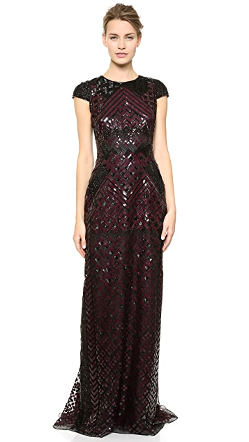 J. Mendel Short Sleeve Embroidered Gown