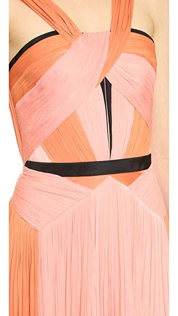 J. Mendel Asymmetrical Color Pleat Dress