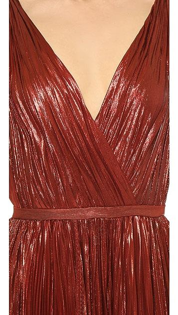 J. Mendel Deep V-Neck Gown